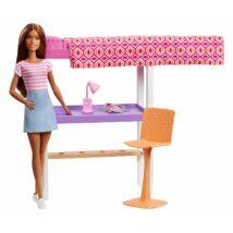 Barbie szoba babával (emeletes ágy íróasztallal)