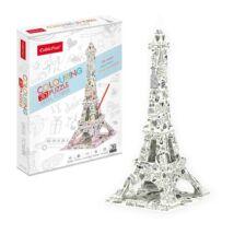 3D puzzle kiszínezhető Eiffel torony (39 elem)