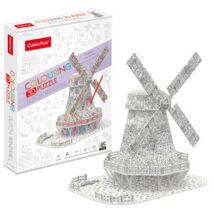 3D puzzle kiszínezhető holland szélmalom (45 elem)