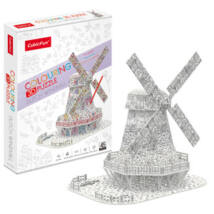 3D puzzle kiszínezhető holland szélmalom (45 db-os)