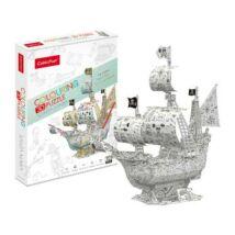 3D puzzle kiszínezhető Santa Maria (113 db-os)