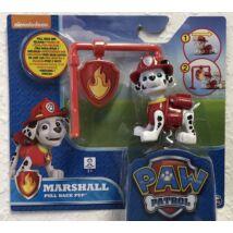 Mancs Őrjárat Action Pack figura jelvénnyel (Marshall pull back pup)