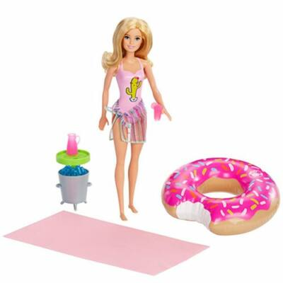 Barbie baba medencés buli kiegészítőkkel