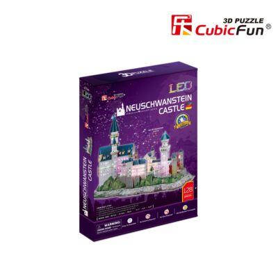 3D puzzle Neuschwansteini kastély LED világítással (128 db-os)