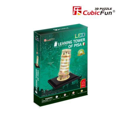 3D puzzle Pisa-i ferde torony LED világítással (15 db-os)